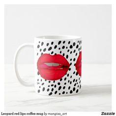 Leopard red lips coffee mug
