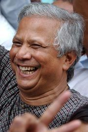 Muhammad Yunus, 2006 winner of the Nobel Peace Prize, and often cited as the father of the microfinancing movement. Some say he's done more to eradicate poverty in the world than anyone else.