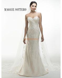 Maggie Sottero A-linie Elegante Schicke Brautkeider aus Satin mit Applikation