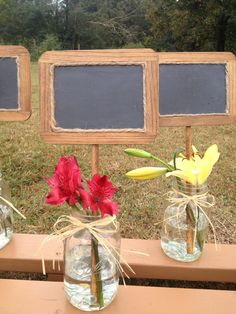 Rustic Wedding Chalkboard Signs in Mason Jar - Set of 2 - Shabby Chic - Wedding Table Numbers on Etsy, $20.00