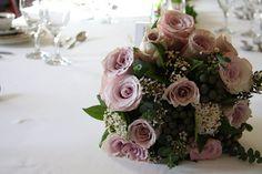 Metalina Rose & Pearl Grey Albiflora Wedding Bouquet