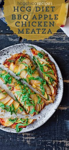 hCG Diet AP (Alternate Protocol) Recipe - 211 calories per serving: BBQ Chicken Apple Meatza with Onions & Arugula. Each serving consists of protein + veggie + fruit meal Phase 2 Hcg Recipes, Hcg Diet Recipes, Healthy Recipes, Hcg Meals, Diet Meals, Diet Foods, Bbq Chicken, Chicken Recipes, Chutney