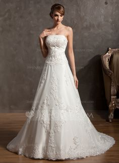 Wedding Dresses - $264.99 - A-Line/Princess Strapless Chapel Train Satin Tulle Wedding Dress With Lace Beading (002014940) http://jjshouse.com/A-Line-Princess-Strapless-Chapel-Train-Satin-Tulle-Wedding-Dress-With-Lace-Beading-002014940-g14940