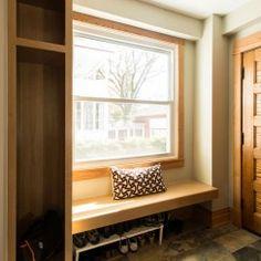 Small mudroom design, slate tile, built in bench, shoe storage