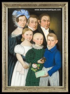 Fabulous family portrait, probably New England, ca. 1825.  Intact on its original stretcher with remnants of newsprint citing Vermont and New Hampshire events.
