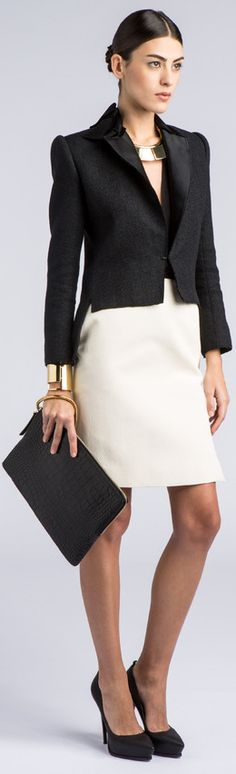 Lanvin: black blazer with cream skirt Business Chic, Business Outfit, Business Fashion, Office Attire, Office Outfits, Work Attire, Lanvin, Office Fashion, Work Fashion