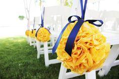 Pomanders- Canary yellow :  wedding pomanders flowers navy yellow reception decor blue gold ceremony reception 080 Edited 1