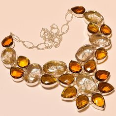 MARVELOUS GOLDEN RUTILE WITH FACETED CITRINE TOPAZ .925 SILVER NECKLACE #Handmade #Choker
