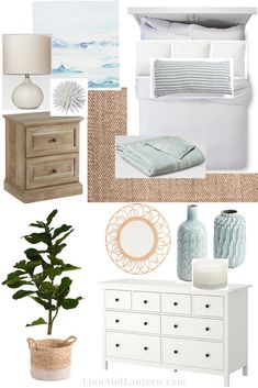 This coastal bedroom design mixes modern and traditional styles to create an air… – For the Home – einrichtungsideen wohnzimmer Coastal Bedrooms, Coastal Living Rooms, Modern Bedrooms, Coastal Master Bedroom, Nautical Bedroom, White Bedding, White Bedroom, White Rooms, Modern Coastal