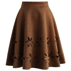 Chicwish Dancing Flower Cutout Suede A-line Skirt in Tan ($42) ❤ liked on Polyvore featuring skirts, brown, flower skirt, knee length a line skirt, suede skirt, tan skirt and brown suede skirt
