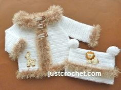 Free PDF baby crochet pattern for coat & hat http://www.justcrochet.com/fluffy-coat-hat-usa.html #justcrochet
