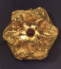 piece of Scythian gold. Looks like there are 6 horsemen or 6 tribes maybe 6 brothers...etc.