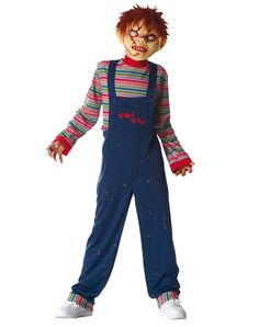 Chucky Child Costume at Spirit Halloween - It's child's play on Halloween when you wear this officially licensed Chucky child costume. The character jumpsuit it styled to look like the classic overalls with a striped shirt and comes complete with a character mask with attached faux fur hair. Make this horror classic yours for $29.99.
