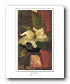 Bring the beautiful and elegant look of fresh flowers into your home space by getting home this beautiful white magnolia flower in vase floral art print poster. It captures the image of white magnolia flower lying into a vase which is sure to make this wall art focal point of your home. It will brighten up your room and make heads turn towards it. It will grab you many compliments from your guests. Hurry up! Order this poster for its excellent quality with high degree of color accuracy.