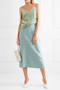 Hillier Bartley - Quilted Jacquard Midi Skirt - Mint - UK8