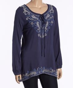 Navy Embroidered Peasant Top - Plus