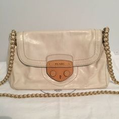Auth PRADA  2890 Vitello Shine Talco Ivory Leather Crossbody   Shoulder Bag 994e08b81c