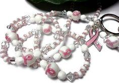 Id Badge Lanyard Necklace Breast Cancer Pink Ribbon Breakaway Angel   PinkCloudsAndAngels