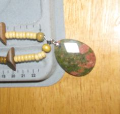 Wood Beaded Necklace with Unakite Pendant by ETNFamilyProducts, $20.00