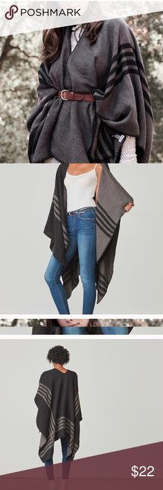 BB Dakota Poncho Brand new never worn. Reversible poncho with a lighter grey and dark grey. ONE SIZE BB Dakota Jackets & Coats