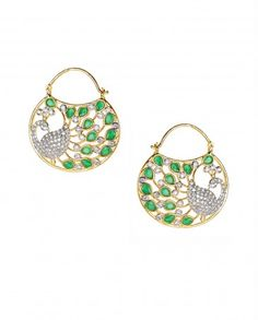 Peacock Earrings with Green Stones