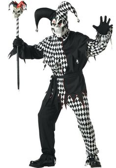 California Costumes Evil Jester Costume,BlackWhite,X-Large Evil Jester Halloween Costume, Halloween Costumes Kids Homemade, Halloween Costume Accessories, Halloween Fancy Dress, Halloween Stuff, Scary Costumes, Adult Costumes, Jigsaw Costume, California Costumes