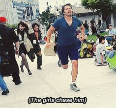 Misha Collins running from fans. He thought he could casually stroll around comic con, until some girls dressed as Castiel spotted him.