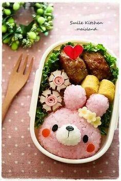 Cute pink bunny onigiri bwnto box, featuring tamagoyaki and hamburger steak Bento Recipes, Baby Food Recipes, Bento Ideas, Food Art Bento, Cute Food, Yummy Food, Kawaii Cooking, Japanese Food Art, Japanese Lunch Box