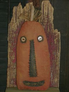 """Primitive Grungy Halloween 13"""" Tall Pumpkin Face Doll~ Ro's Cluttered Attic"""