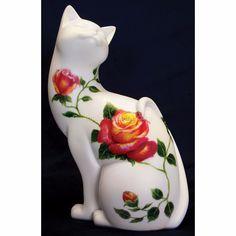 Rosea Beautiful Hand Painted Porcelain Cat Figurine