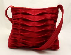 SALE - Handbag Handmade Purse Pleated in Bright Red Chevron Pleats $54 canvas