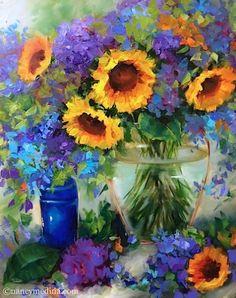 Golden Halo Sunflowers and Hydrangeas - Flower Paintings by Nancy Medina, painting by artist Nancy Medina