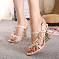 Wedge Heel T-Shaped Buckle Plain Rhinestone Sequins Women's Sandals - m.tbdress.com