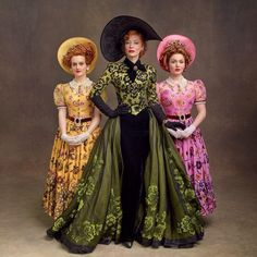 """Cinderella - Cate Blanchett as Lady Tremaine, Sophie McShera as Drizella and Holliday Grainger as Anastasia. According to the movie's costume designer, Sandy Powell, """"Cinderella's stepsisters sport the yellow and pink of sorority. Cinderella 2015, A Cinderella Story, Cinderella Stepsisters, Cinderella Costume, Theatre Costumes, Cool Costumes, Amazing Costumes, Disney Mode, Robes Disney"""