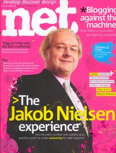 'The Jakob Nielsen Experience', Dot-Net magazine cover, December 2006 Group Interview, Name Logo, Logo Inspiration, Magazine Covers, Hate, December, Management, Graphics, Graphic Design