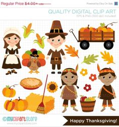 ON SALE  Fall / Autumn / Happy Thanksgiving Clip by MyClipArtStore, $3.00