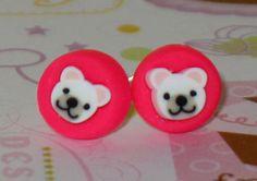 Polar Bear Stud Earrings 7mm Polymer Clay Earrings by DIYArtMart