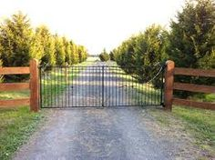 Image result for double drive gates in split rail fence