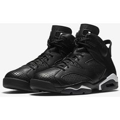 Air Jordan 6 Retro 'Black'. Nike + SNKRS ($190) ❤ liked on Polyvore featuring men's fashion, men's shoes, nike mens shoes, mens black shoes and mens retro shoes