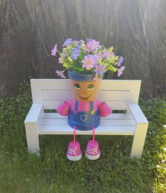 Country Kid Clay Pot People, 4 Planter Brighten your day with this cheerful little Country Girl Clay Pot People Planter by Pot Mama. Clay Flower Pots, Flower Pot Crafts, Clay Pot Crafts, Clay Pots, Flower Pot People, Clay Pot People, Little Country Girls, Wooden Garden Benches, Kids Clay