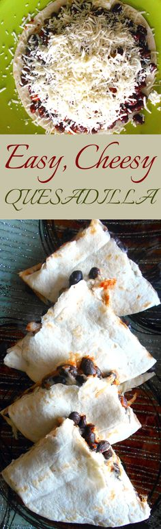 Easy recipe for a cheesy quesadilla. Add beans, taco seasoning, onions, peppers and a whole bunch of cheese. This is a vgetarian quick quesadilla recipe and can be made in 5 minutes. #GameDayFavorites #OEPGameDay #Sp