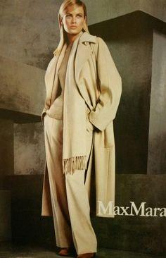 Carolyn Murphy in Max Mara coat.