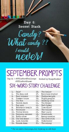 September Six-word Story Challenge Prompts. These make great exercises for journaling, hand lettering, or creative writing! Journal Challenge, Journal Prompts, Bujo September, Writing Prompts Funny, Story Prompts, Crafty Hobbies, Six Word Story, Journal Questions, Hand Lettering Practice