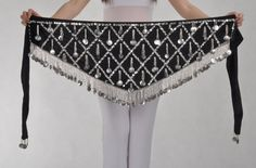 BL006 MULTI colors silver coins velvet  triangle belly dance hip scarf waist belt waistband