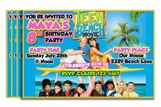 Personalized Birthday Invitations - Teen Beach on Etsy, $10.00