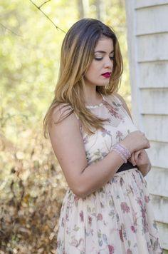 Timeless Optimist blog | lc lauren conrad, fashion blog, holiday dress, bold red lips. bracelet, bracelets, floral dress, floral print, petite fashion, new jersey, new work