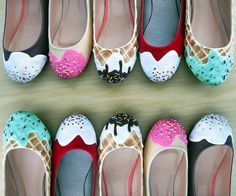 The 'shoe bakery' makes heels look good enough to eat - Yum. Ice Cream Shoes, Cream Flats, Ice Cream Sneakers, Cute Shoes, Me Too Shoes, Awesome Shoes, Shoe Cupcakes, Creative Shoes, Shoe Art
