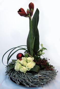 Bloemschikken Rosalie: Bloemschikken Advent & Kerst 2012 - Tafelstuk 1