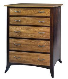 Amish Christy Five Drawer Chest of Drawers The Christy combines traditional and modern elements for a unique style. Shop wood furniture that you can customize! This chest is available in a variety of woods and stains. #bedroom #bedroomstorage #bedroomchest #chestofdrawers
