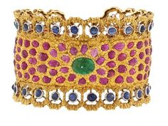 Exclusive craftsmanship and organic motifs take this hinged gemstone cuff bracelet from Italian designer Buccellati from merely fun to simply fantastic.